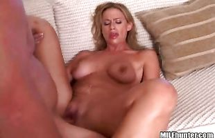 This big cock is too thick for exquisite busty blonde Kylee's petite mouth