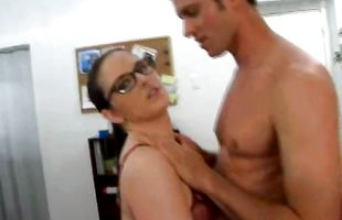 Sexy brunette lady Caroline Pierce with impressive natural tits playfully sucks and fucks