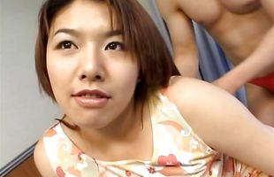 Angelic busty mature girlfriend Serina Sakurai eagerly drools over a throbbing meat