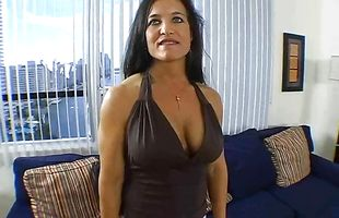 Adorable mature perfection Angel Caliente reveals her big booty to her muscular man