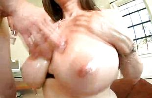 Naughty Kitty Lee with round natural tits receives a big dink in her tight cuchy
