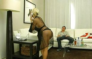 Blonde honey Diamond Foxxx with large tits gives head and takes it doggystyle