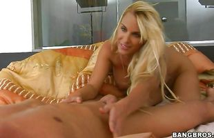 Vigorous busty blonde Holly Halston loudly cums on a pulsating love stick