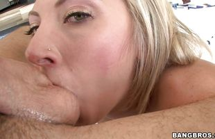 Foxy busty blonde Skylar Price gives fellow a blowjob and rides his stiff stick