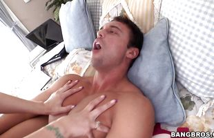Lovable brunette mature honey Syren De Mer is gently sucking her male's beef bayonet because she likes to keep him satisfied