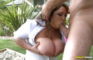 Savory latin brunette milf Salena Marie fondles her cooter before giving a handjob