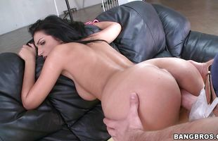 Sinful brunette latin woman Amber Cox with big natural tits enjoys having her delicious twat pleasured