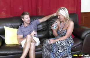 Naked blonde minx Carey Riley and lover seem to be very close to each other