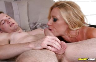 Pal prepares the nude busty mature Molly for a fuck session
