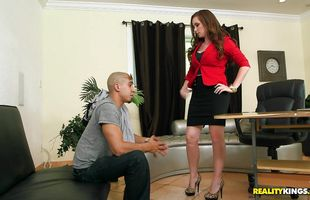 Sexy redhead sweetheart Jessica Rayne has a waiter inspect her juice love tunnel