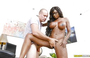 Tempting mature black gal Diamond Jackson gives her partner a blowjob