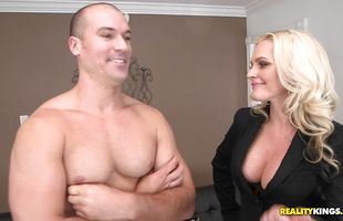 Raunchy mature blonde girl Alena Croft with large tits and her experienced hunk spread their meaty butts
