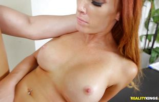 Dissolute mature Dani Jensen's tits sway while she is being roughly doggy styled