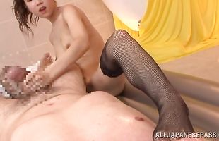 Lustful bimbo Arisa Aizawa with big tits 's mouth is stretched around a thick sausage