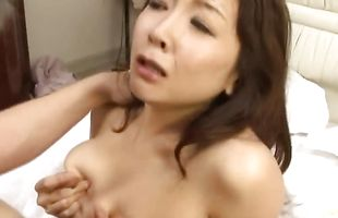 Overwhelming busty babe Azusa Kirihara jumps on stiff one eyed snake wildly