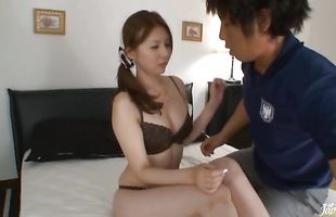 Captivating busty mature Yui Tatsumi gets her juicy love tube fingered