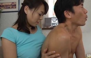 Playful Reiko Nakamori with round tits gets passionately licked and fucked