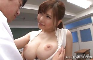 Classy busty lady Anri Okita lets pal smash her cooter