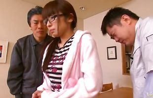 Angelic mature darling Mika Kayama is gently rubbing stud's tool with her soft lips