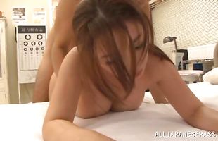 Dishy mature floozy Mako Oda receives a hard penis in her tight cuch