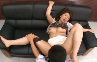 Luscious mature Risa Kasumi receives a thick fuck stick in doggy style