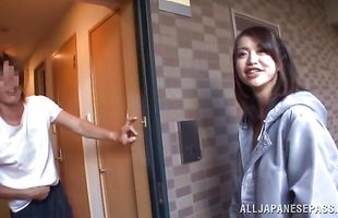 Startling mature beauty Kaede Niiyama with firm tits lets a male pound her teen twat