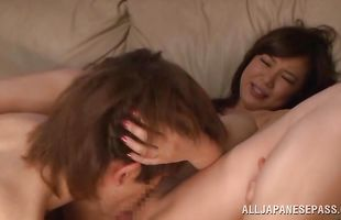 Breathtaking woman Karen Saijyou and her fucker get their tits groped