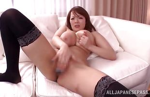 Dissolute Hitomi pleases a hard packing monster with her big hooters