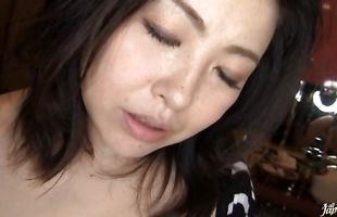 Seductive Azusa Omori's skinny poon tang is violated by a pulsating meat member