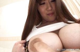 Vigorous mature Rin Yunoki with massive tits gives a wet blowjob before bending over