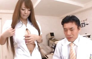 Magical busty cougar Hitomi Tanaka eagerly impales her love tunnel on a hard slim jim