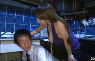 Guy is spreading naked sweetie Hitomi Tanaka's legs while drilling her wet cuch