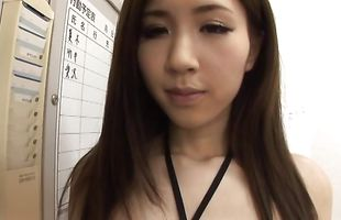 Frisky darling Arisa Aizawa with huge tits is riding a massive pecker like a real pro
