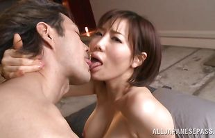 Lusty milf Nanako Mori eagerly strips and spreads her legs for a chopper