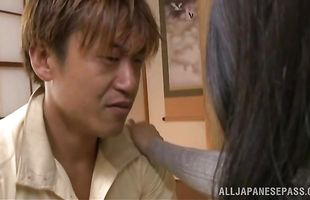 Shameless sweetie Rumiko Yanagi rides a boner and reaches a huge orgasm