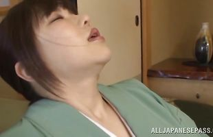 Aphrodisiac lady Anri Okita has her perky titties squeezed while riding cock