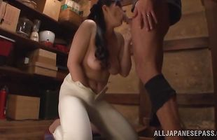 Voluptuous mature Kaori Sakuragi gets doggy styled hard by hunk