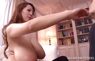 Elegant mature Hitomi got banged while she was playing with her tits