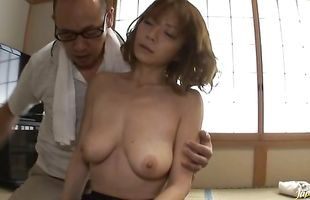 Experienced buddy gets to enjoy in diva Suimire Matsu with round tits 's nice boobies