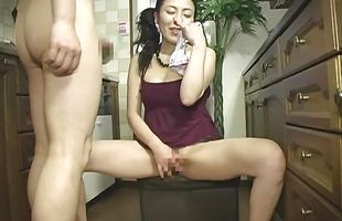 Insatiable Kyoko Misaki with huge tits receives a pulsating dink in her wet copher