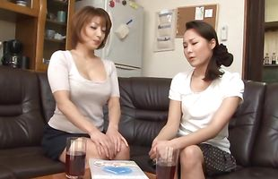 Classy busty darling Reiko Kagami came home with a hunk she met to fuck him good