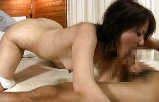Kinky woman is sucking pussy tester's prick