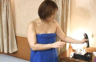 Voracious mature bimbo Ayano Murasaki is gently rubbing her fuckmate's meat rocket