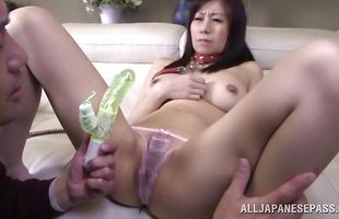Appealing mature Chihiro Akino with impressive tits spreads legs wide open feeling pole in wet sissy