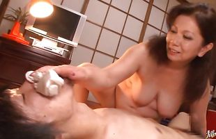 Appetizing busty maiden Chizuru Iwasaki eagerly sucks and rides a stiff meat member