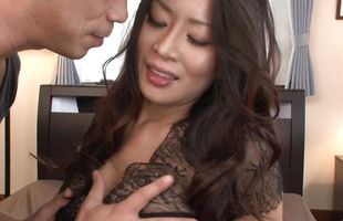 Startling mature beauty Rei Kitajima shows her butt to pussy tester