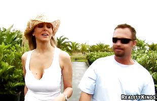 Playsome mom Julia Ann with round tits eagerly slams her slit on a talented dude's tool