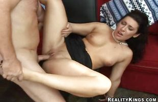 Busty perfection Natalia gets titties played and gives sugary blowjob