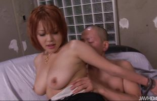 Foxy redhead Sara drools on cock and gets pounded