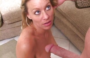 Dissolute blonde milf Aliyah getting her love tunnel drilled up hard